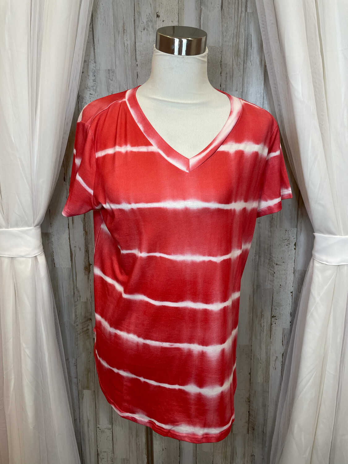Tickled Teal Red & White Top - XL