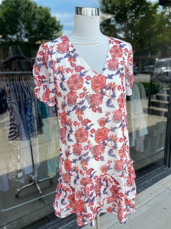 Sadie + Sage Cream Red Floral Print Dress - M