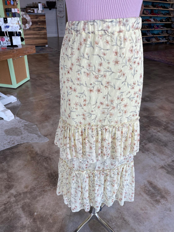 H&M Yellow Floral Layered Ruffle Skirt - XL