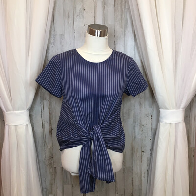 LUSH Blue & White Striped Top w/Tie Front - XS