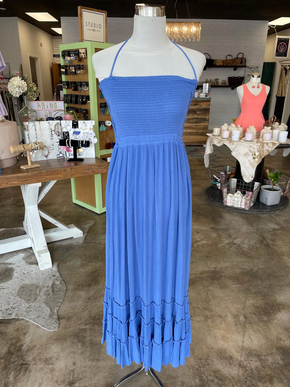 R. Vivimos Blue High Low Maxi Dress w/ Strappy Back - L