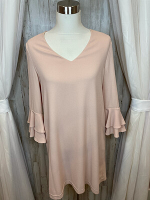 Charles Henry Blush Dress w/Ruffle Sleeve - M