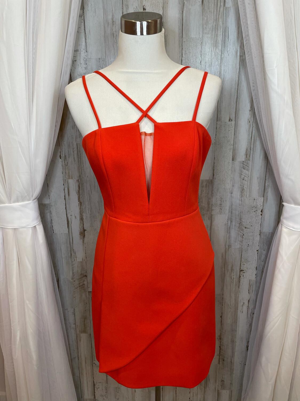 BCBGMaxazria Tomato Red Dress w/Mesh Accent - Size 10