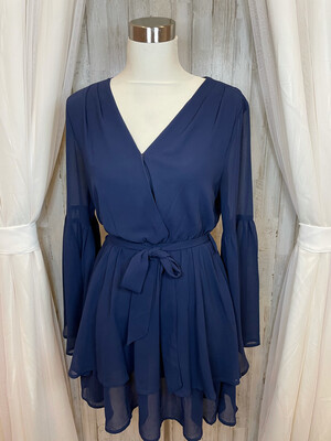 Loveriche Navy Dress w/Bell Sleeve - M