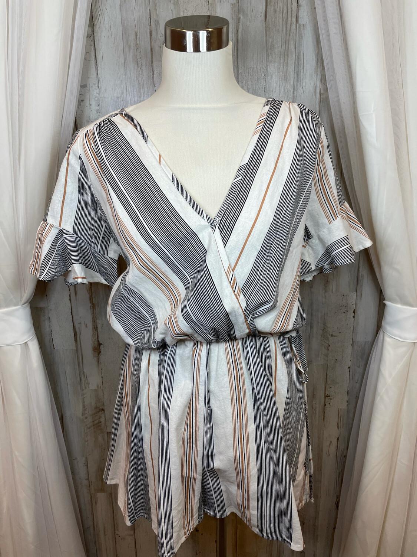 Karlie Tan & Black Striped Shorts Romper - L
