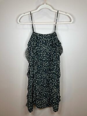 19 Cooper Black Ruffle Floral Print Dress - XS