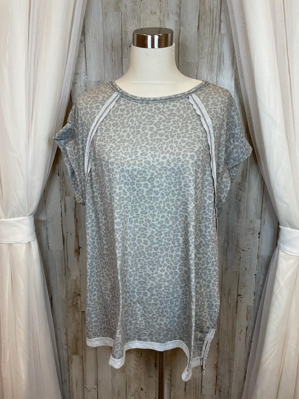 White Birch Grey Leopard Print Top - XL