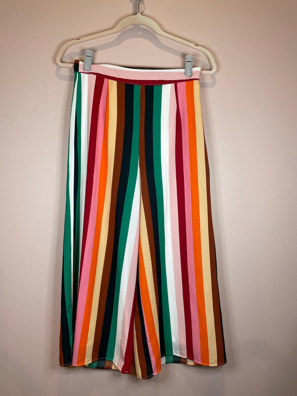 Molly Green Multicolor Stripe Pants w/Ruffle Trim - S