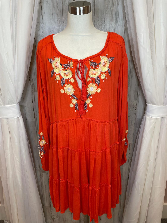 Free People Reddish Orange Dress w/Yellow Floral Embroidery - L