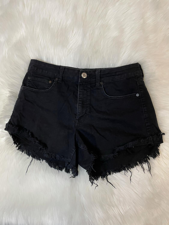 American Eagle Distressed Black Denim Shorts - Size 12