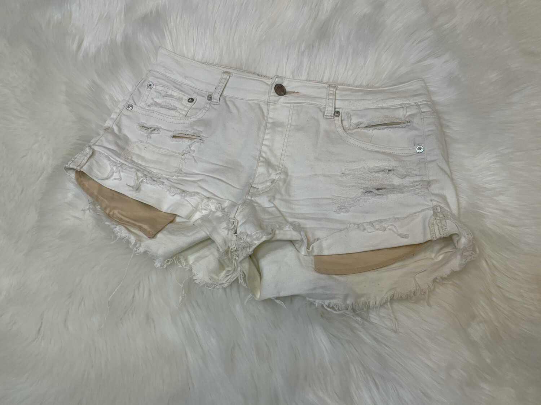 American Eagle Distressed White Denim Shorts - Size 12
