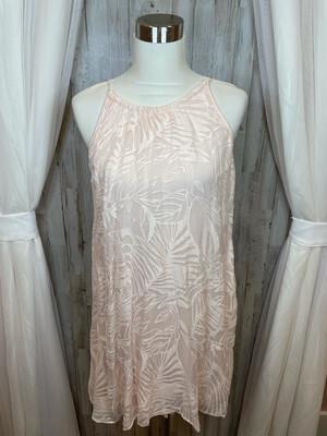 Pink Palm Patterned Dress - M