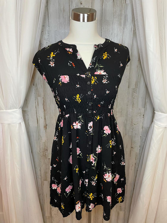 Free People Black Floral Dress - S