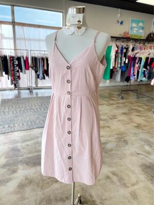 Umgee Dusty Rose & Cream Striped Dress - L