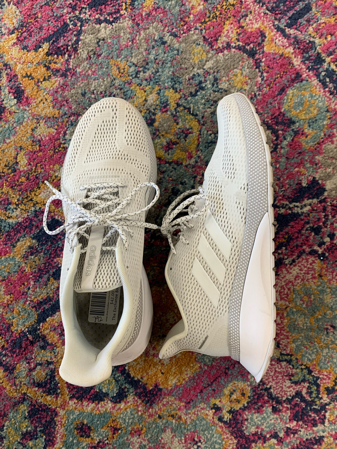 Adidas White Cloudfoam Comfort Running Shoes - Size 8.5