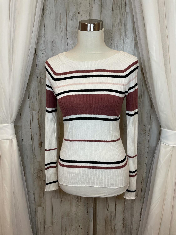 Express Pink, Black, & White Striped Top - XS