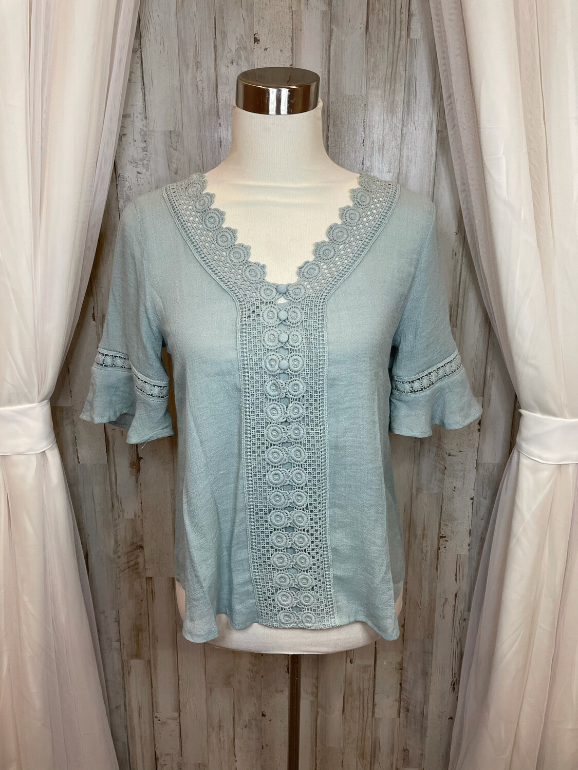 Mine Green Lace Top - S