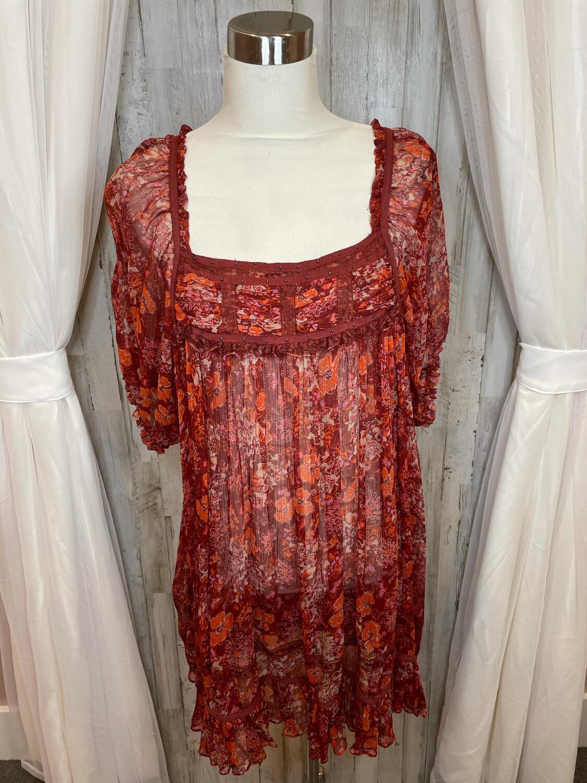 Free People Wine Floral Print Sheer Dress - L