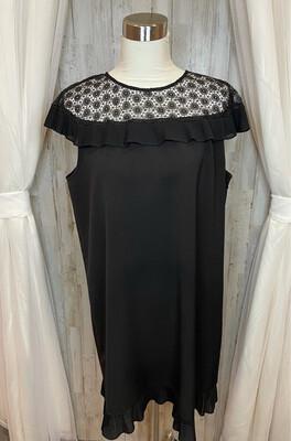 Tahari Black Dress w/Lace & Ruffle Accent - Size 16