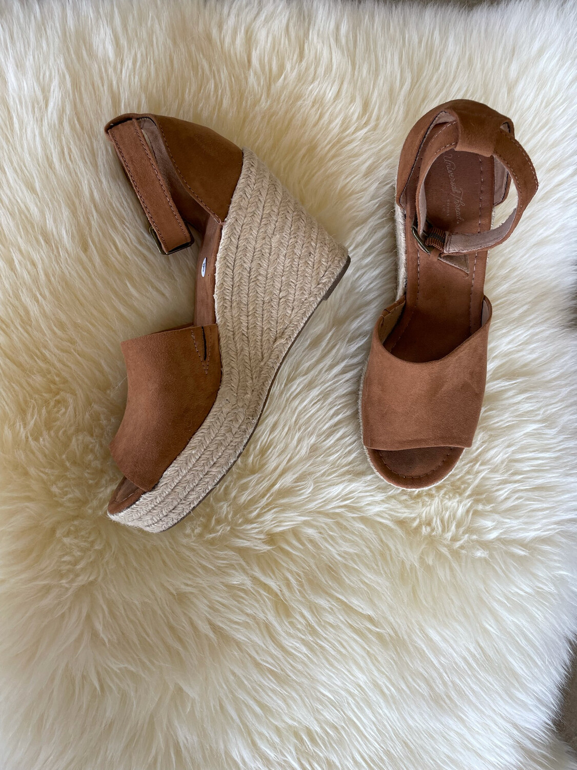 Universal Thread Brown Suede Wedges w/ Ankle Straps - Size 7.5