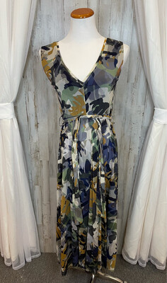 Fuzzi Camo Patterned Belted Dress - M