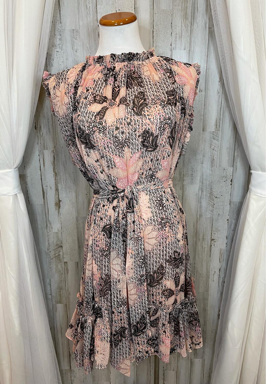 Karlie Pink Floral Belted Ruffle Bottom Dress - L