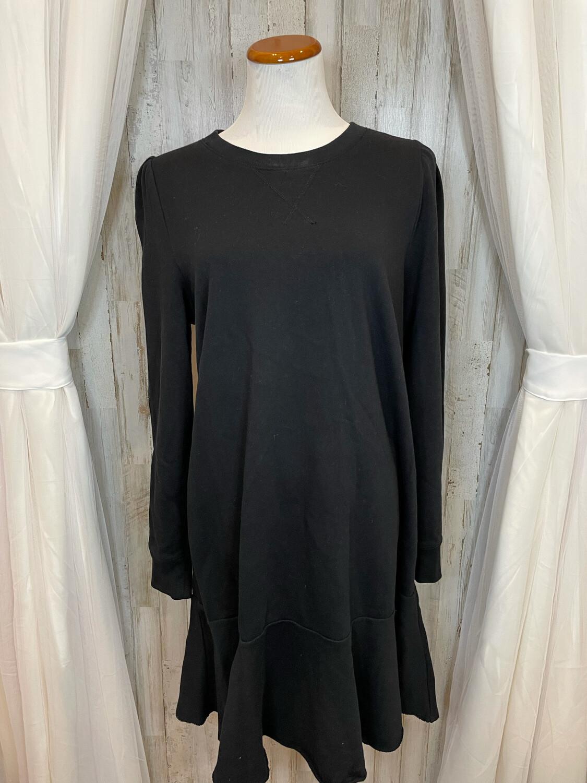 Gap Black Sweatshirt Ruffle Bottom Dress - L