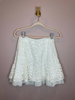 Betsey Johnson White Layered Skirt w/ Pleated Lining - Size 4