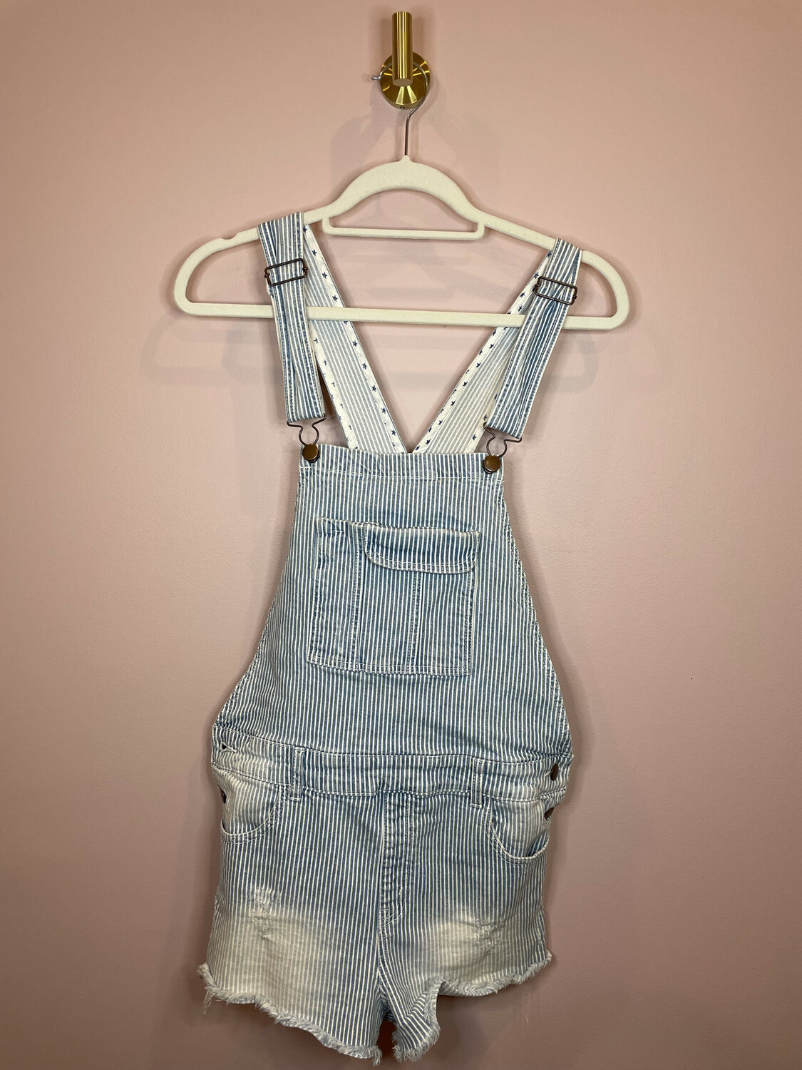 Forever 21 Chambray Striped Overall Shorts - Size 30