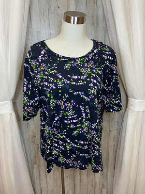 Christopher Banks Navy Top w/Purple and Green Print - XL