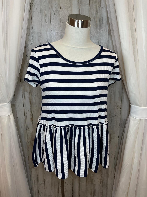 She + Sky Navy & White Striped Peplum Top - S