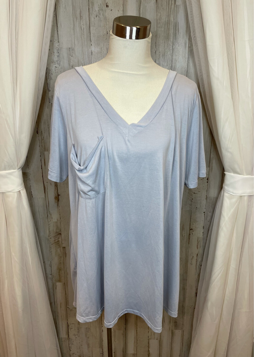 Andree By Unit Blue V-neck Top w/Pocket - 1XL