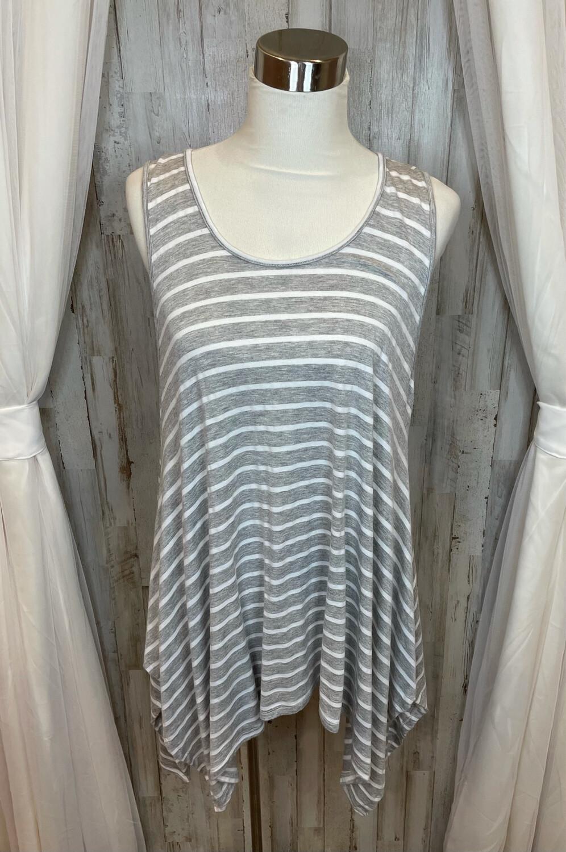 La Vanya Woman Grey & White Striped Tunic Top - 1X