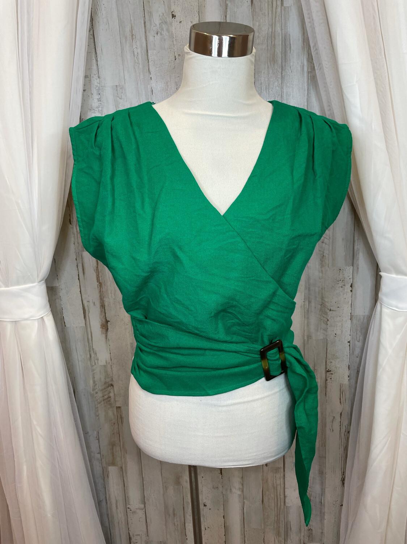 J.O.A. Green Wrap Top - L
