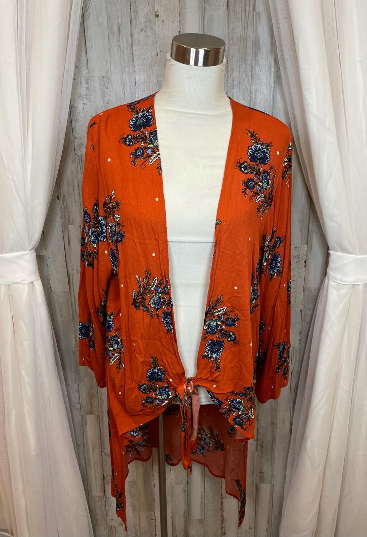 How.Very.Loved Orange Floral Print Kimono w/Tie Front - L