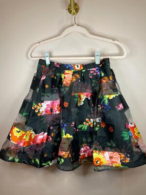 Sequin Hearts Black Floral Print Skirt - Size 3