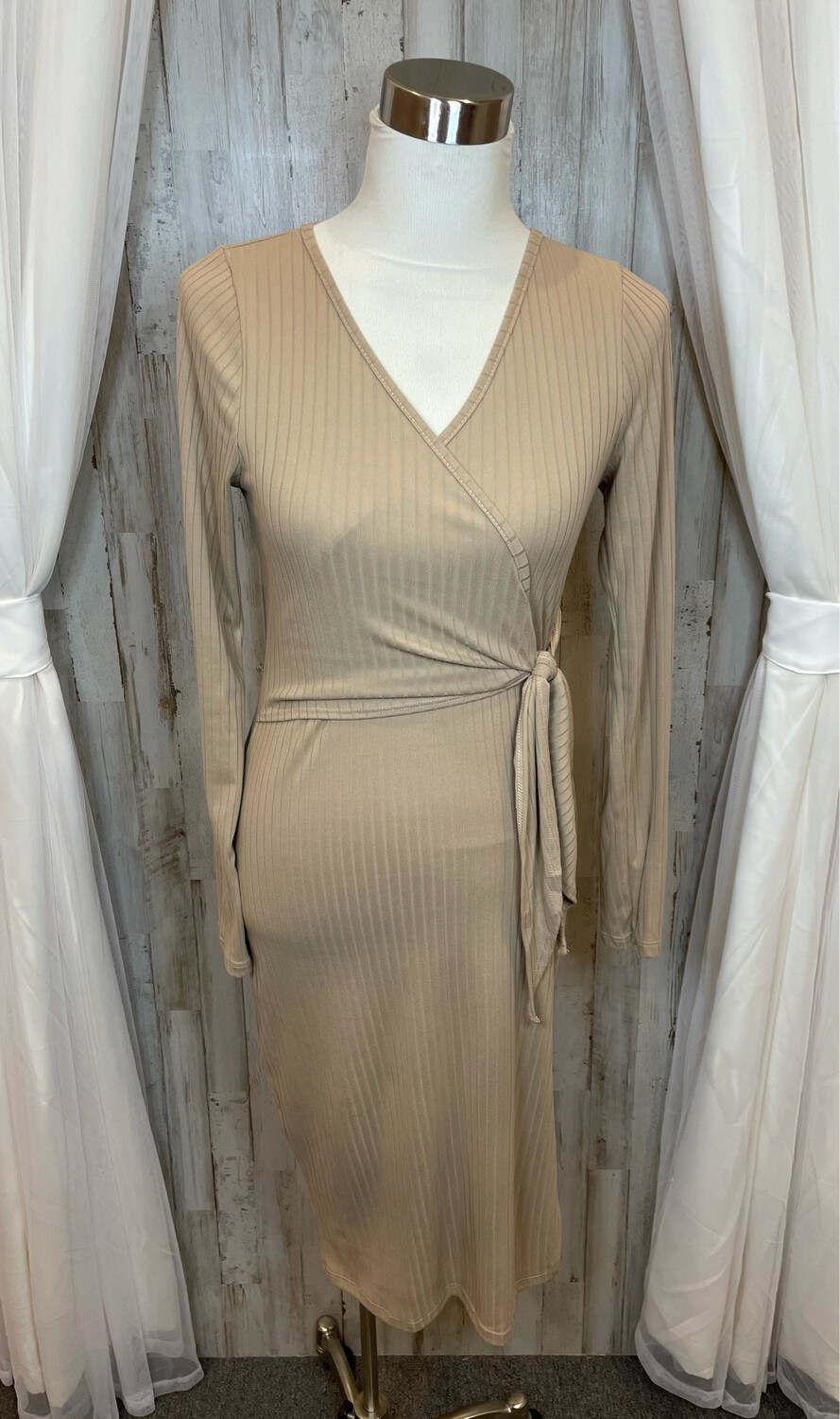 Pink Lily Camel Ribbed Dress w/Tie - S