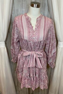 Cleobella Pink Floral Belted Dress - M