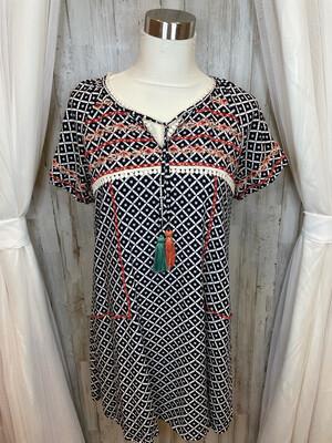 THML Navy & White Patterned Tassel Dress - M