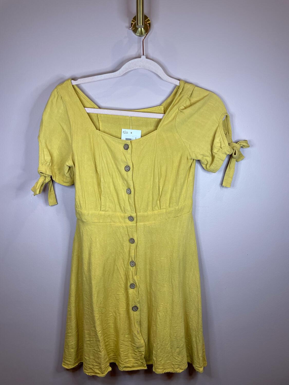 Mustard Button Up Dress w/ Tie Sleeves - S