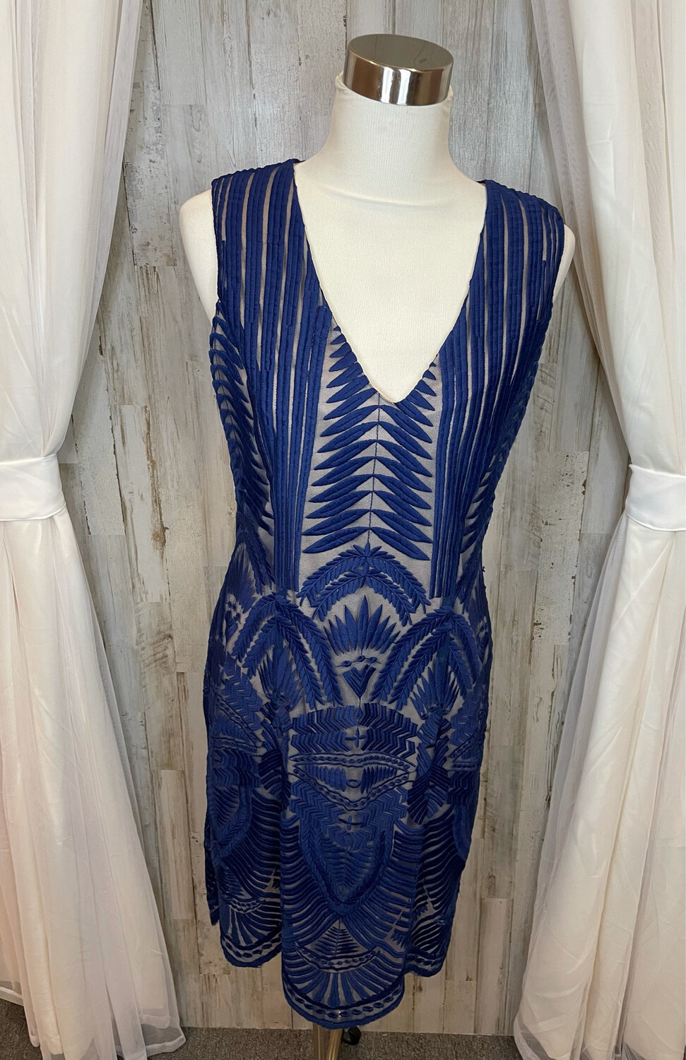 A.B.S. Collection Blue Embroidered Dress - Size 8