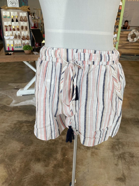 Knox Rose Striped Drawstring Shorts - XS