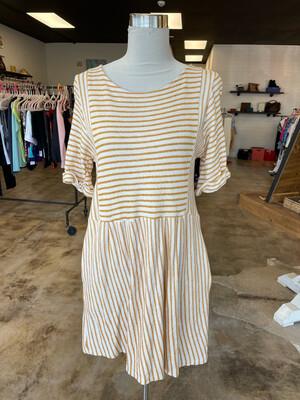 By Together Mustard & White Stripe Pocket Dress - M
