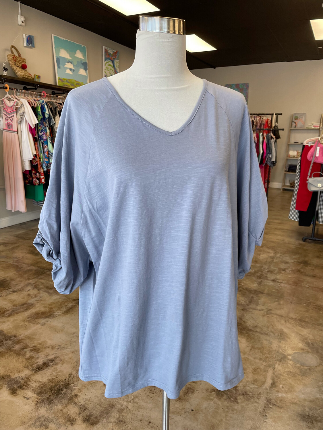 Livin' For The Weekend Grey Pleated Sleeve V-neck Top - L