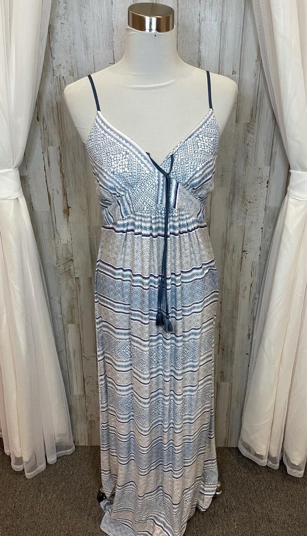 Lovestitch Blue, Cream, & Tan Pattern Maxi Dress - L