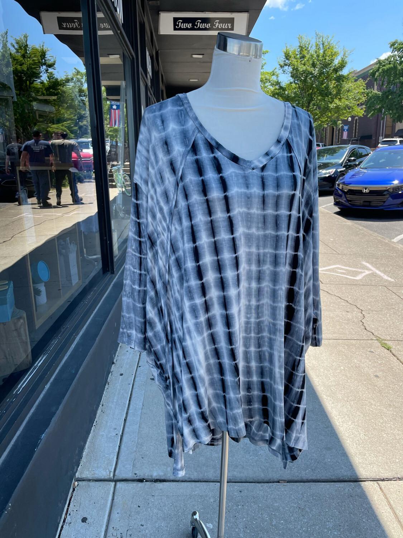 Umgee Black Tie Dye Tunic Top - M