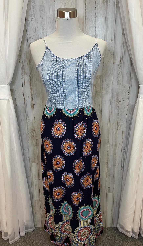 Papillon Navy Print Maxi Dress w/Denim Top - M