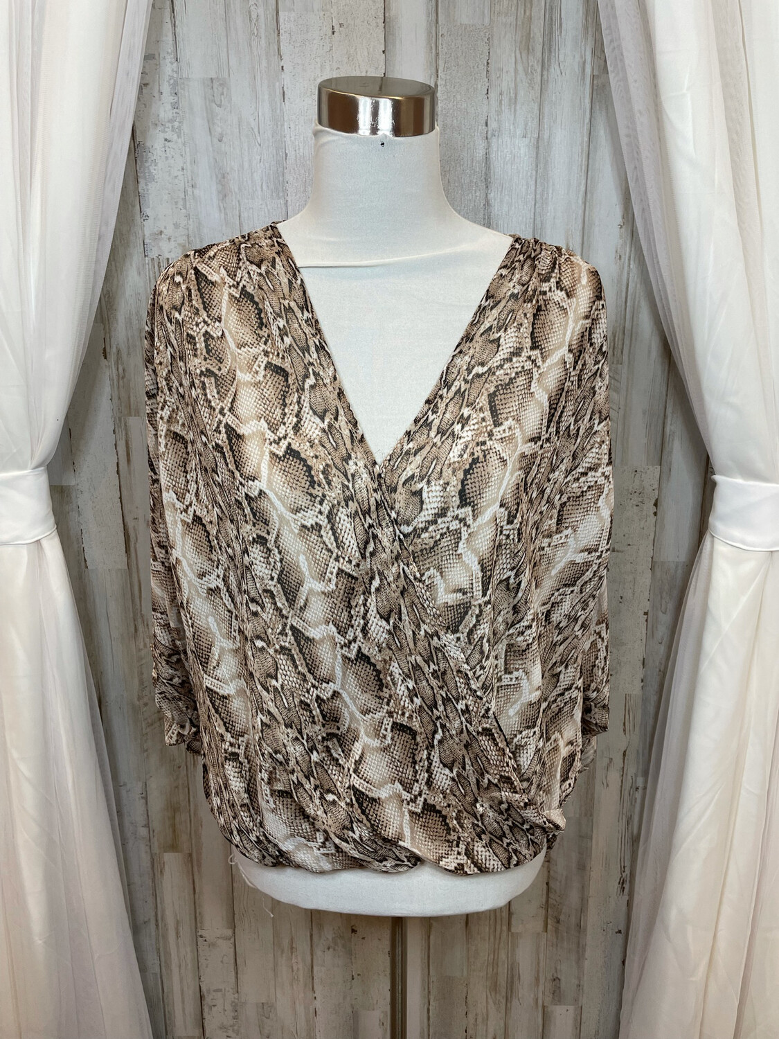 Lovestitch Brown Snakeskin Wrap Top w/Gold Accent - S