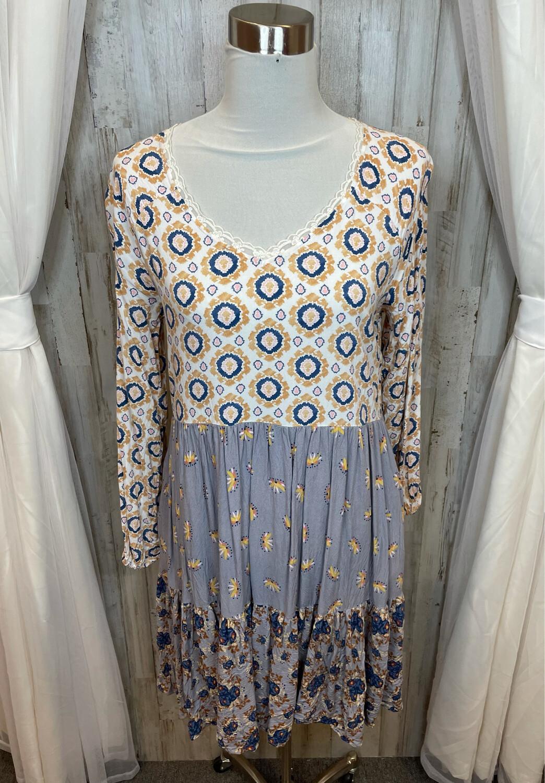 Matilda Jane Lilac & Mustard Print Dress w/Lace Neckline - M