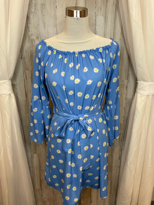 Auditions Blue Belted Dress w/Daisy Print - XL